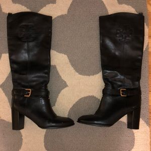 Tory Burch Leather Knee High Heeled Boots